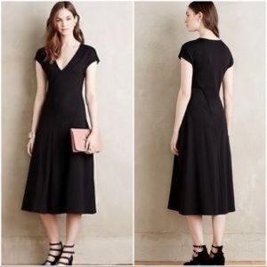 ANTHROPOLOGIE Maeve Black Ponte Knit Amelia Dress